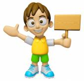 3D Child Mascot the hand is holding a picket. Work and Job Chara — Stock Photo