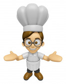 3D Chef Man Mascot has been welcomed with both hands. Work and J — Stock Photo
