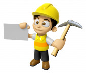 3D Construction Worker Man Mascot is holding electric pickax and — Stock Photo