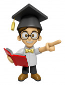 3D Scholar Man Mascot the left hand guides and the right hand is — Stock Photo