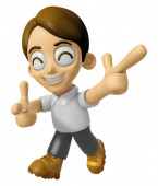 3D Man Mascot is taking gestures of Double pistols. Work and Job — Stock Photo
