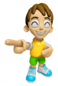 3D Child Mascot is points a finger one direction. Work and Job C — Stock Photo