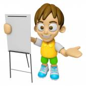 3D Child Mascot is presentation in front of the a briefing chart — Stock Photo