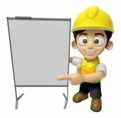 3D Construction Worker Man Mascot is concise explanation of a wh — Stock Photo