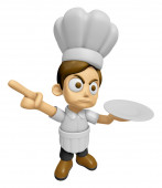 3D Chef Man Mascot the left hand guides and the right hand is ho — Stock Photo