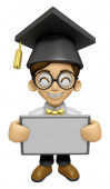 3D Scholar Man Mascot holding a big board with both hands. Work  — Stock Photo