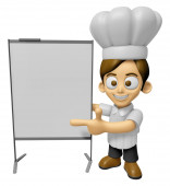 3D Chef Man Mascot is concise explanation of a whiteboard. Work  — Stock Photo