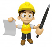 3D Construction Worker Man Mascot hand is holding a Document and — Stock Photo