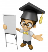 3D Scholar Man Mascot is concise explanation of a whiteboard. Wo — Stock Photo