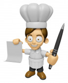 3D Chef Man Mascot hand is holding a Document and ballpoint pen. — Stock Photo