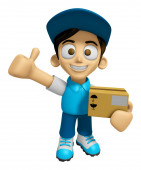 3D Delivery Service Man Mascot is to provide the best service. W — Stock Photo