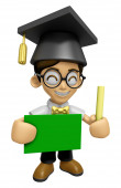 3D Scholar Man Mascot hand is holding a Chalk and Chalkboard. Wo — Stock Photo