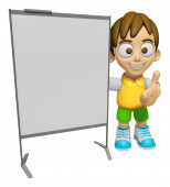 3D Child Mascot is concise explanation of a whiteboard. Work and — Stock Photo