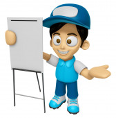3D Delivery Service Man Mascot is concise explanation of a white — Fotografia Stock