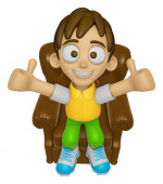 3D Child Mascot is sitting on a chair assume the gesture of the  — Stock Photo