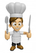 3D Chef Man Mascot hand is holding a Fork and Knife. Work and Jo — Stock Photo