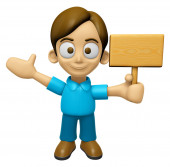 3D Man Mascot the hand is holding a picket. Work and Job Charact — Foto de Stock