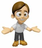 3D Man Mascot the direction of pointing with both hands. Work an — Stock Photo
