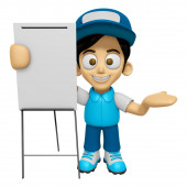 3D Delivery Service Man Mascot is concise explanation of a white — Stock Photo