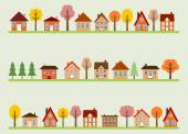 Autumn town — Stock Vector