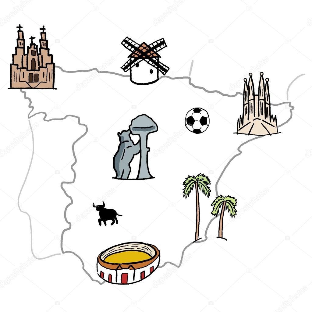 西班牙地标地图-可爱涂鸦矢量图形与马德里, 巴塞罗那, 塞维利亚
