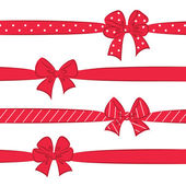 Red bows with ribbons — Stock Vector