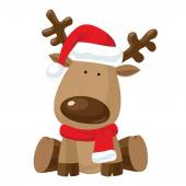 Christmas reindeer in Santa red hat — Vecteur