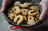 Christmas cookies basket — Stock Photo