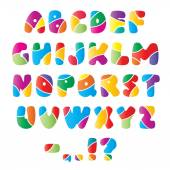 Artistic alphabet font with stripes — Stock Vector