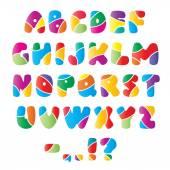 Artistic alphabet font with stripes — Stock vektor