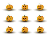 Set of nine halloween pumpkin faces with emotions — Stock Vector