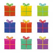 Set of nine different colorful gift boxes for the new year, birthday, anniversary or sale isolated on white, verctor — Vetor de Stock