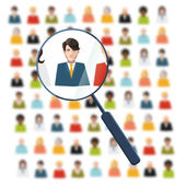 HR looking for worker in crowd — Stock Vector
