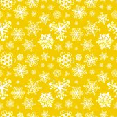 Different modern snowflakes on yellow background seamless pattern — Stock Vector