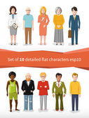 Set of 10 detailed flat characters on white — Vector de stock