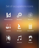 Set of occupations icons - mathematician, mechanic, physicist, chemist, biologist, accountant, artist — Stock Vector