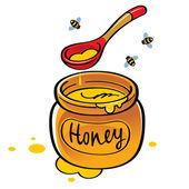 Jar of honey with bees — 图库矢量图片