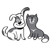 Cute dog and cat — Stock Vector