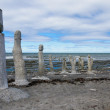 Stonework statues leading into the St. Laurence River — Stock Photo #54615345