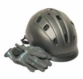Horse riding grey  helmet and gloves isolated — Стоковое фото