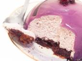 Tasty blackberry mousse cake with spoon — Stock Photo