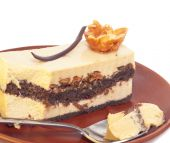 Tasty  mousse cake with spoon — Foto Stock