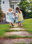 Little girls running — Stock Photo