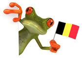Fun frog with Belgium flag — Stock Photo