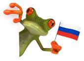 Fun frog with Russian flag — Stockfoto