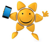 Fun sun with smart phone — Stock Photo