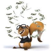 Fun squirrel with dollars — Stock Photo