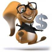 Fun squirrel with dollar sign — Stockfoto