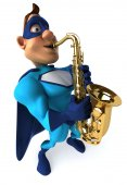 Fun superhero with saxophone — Stock Photo