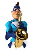 Fun superhero with saxophone — Stock Photo